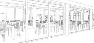 Dessin noir et blanc restaurant intérieur